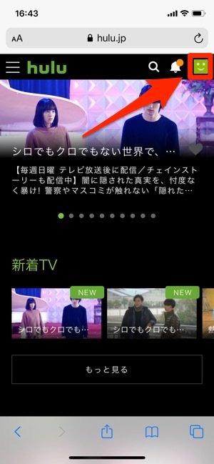Hulu アプリ プロフィールアイコン