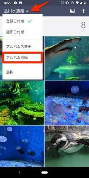 Android版アルバム削除画面