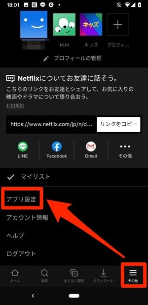 Netflix メニュー アプリ設定