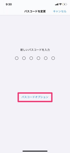 【iPhone】パスコードオプション