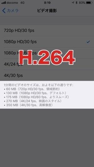iPhone:ビデオのフォーマット(H.264)