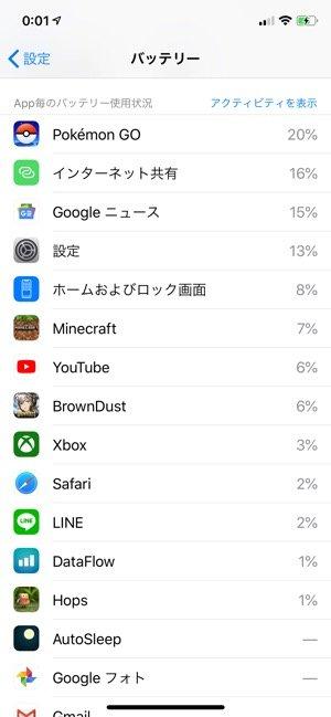 アプリ別にバッテリーの使用状況を表示する