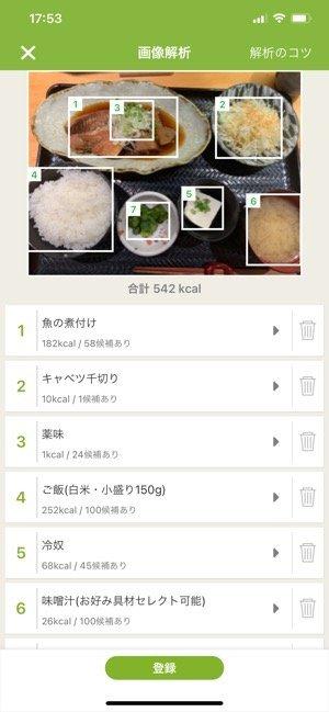 食事の写真を解析