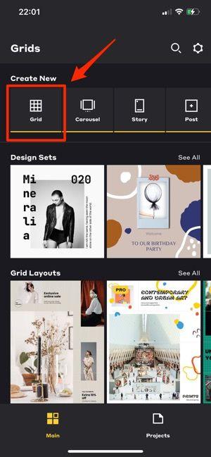 「Grid」をタップ