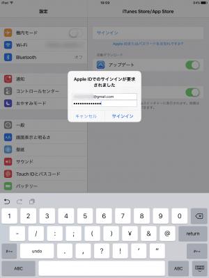 iPad:Apple IDにサインイン