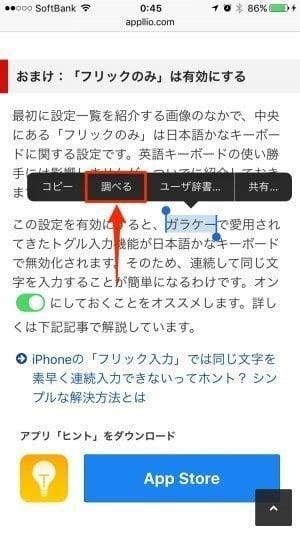 iPhone:「調べる」機能