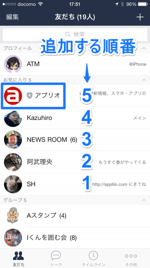 iPhone版LINE 友だちのお気入り登録