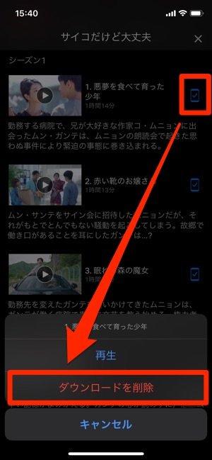 Netflix iOSアプリ ダウンロード 個別削除