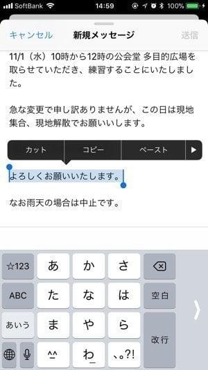 iPhone:テキストをドラッグ&ドロップ