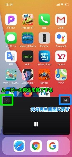 iOS 14 ピクチャ・イン・ピクチャ 操作
