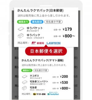 フリマアプリ ラクマ 匿名配送