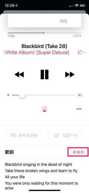 Apple Musicの使い方:歌詞を表示する