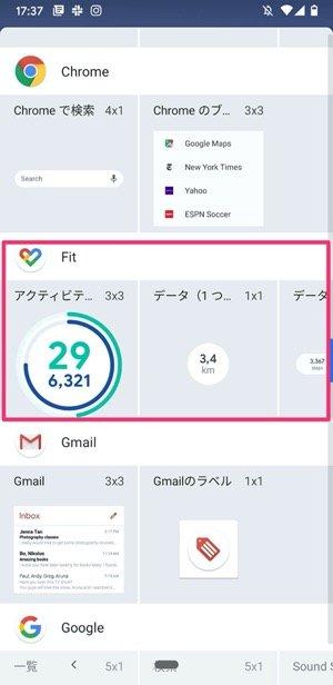 Google Fitの項目をタップ