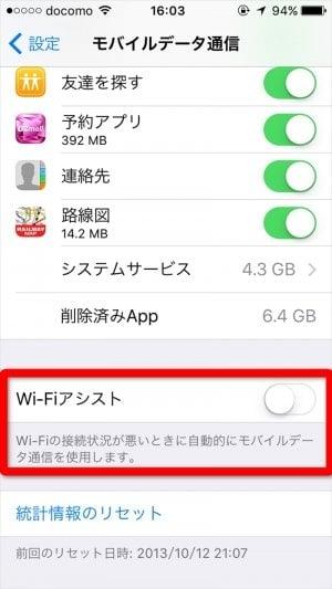 通信速度制限 Wi-Fiアシスト iOS