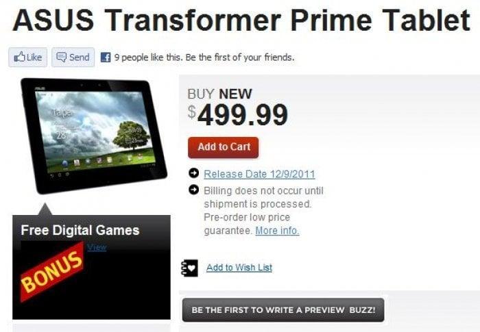 初のクアッドコアTegra3搭載のキーボード着脱式タブレット「Eee Pad Transformer Prime」は12月9日発売か