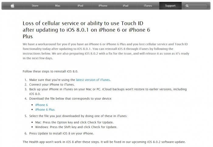Loss of cellular service or ability to use Touch ID after updating to iOS 8.0.1 on iPhone 6 or iPhone 6 Plus