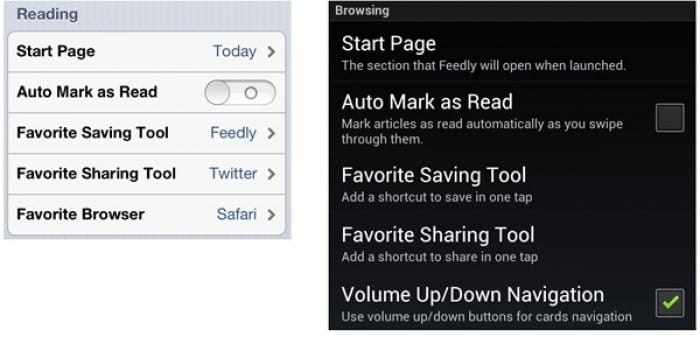 Feedly reading-browsing