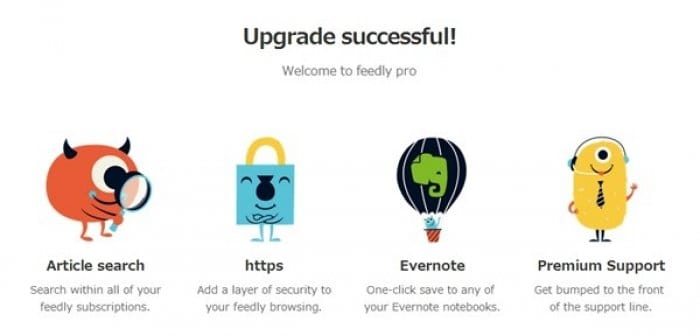 Feedly pro upgrade successful