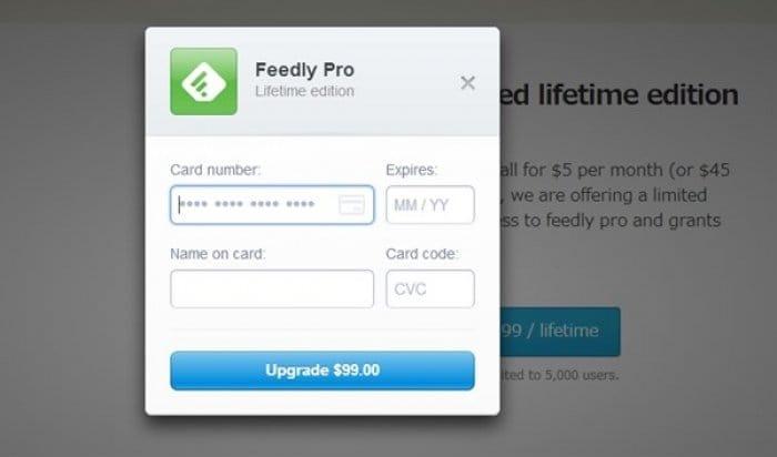 Feedly Pro アップグレード