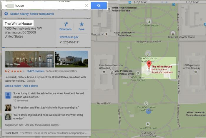 Googleマップ上のホワイトハウス