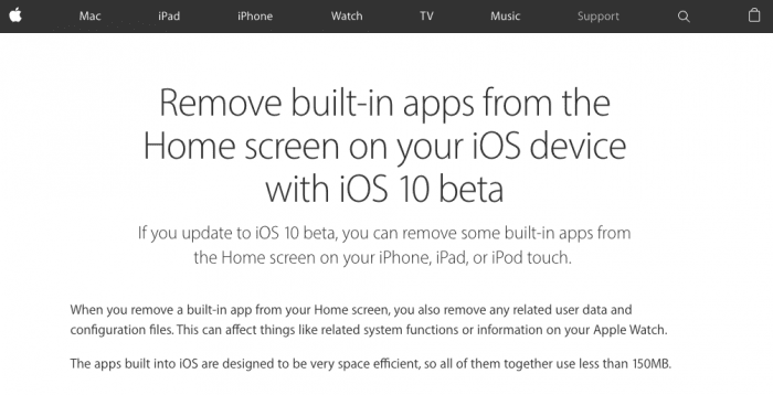 Remove built-in apps from the Home screen on your iOS device with iOS 10 beta - Apple Support