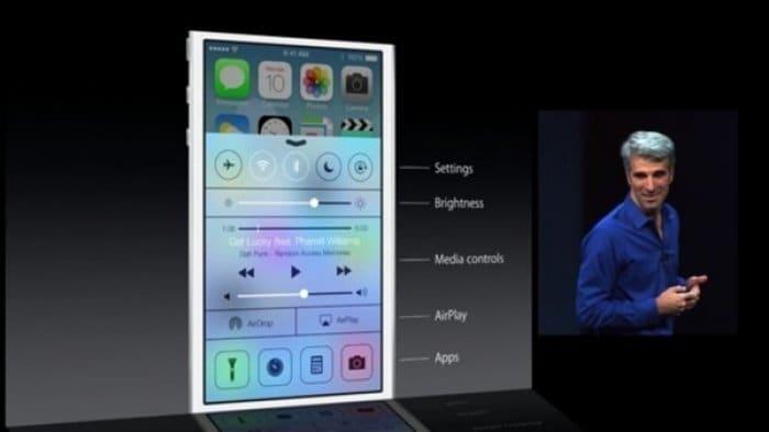 iOS 7 コントロールセンター