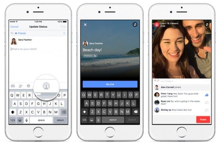 Facebook 動画のライブ配信機能