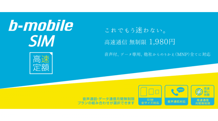 b-mobile SIM 高速定額 日本通信