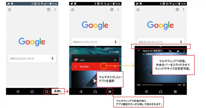 Android 7.0のマルチウィンドウ