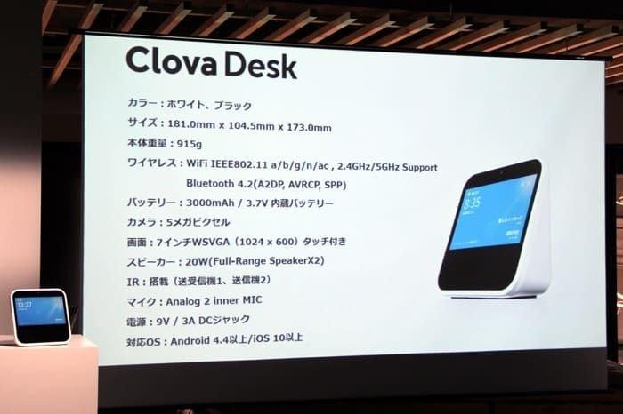 Clova Desk スペック