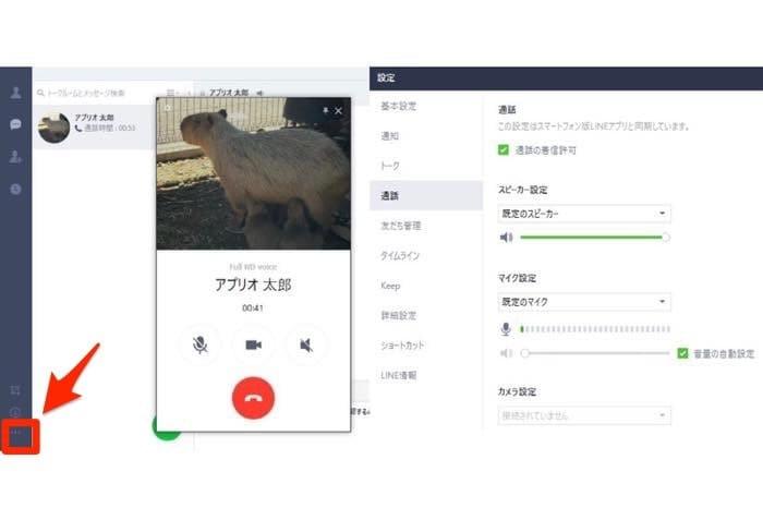 PC版LINE 通話中 音量調節