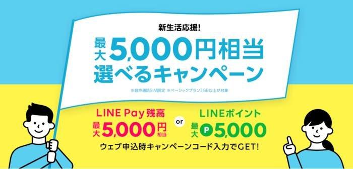 LINEモバイル 新生活応援!最大5000円相当選べるキャンペーン