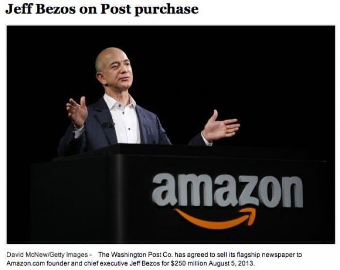 速報:Amazonのジェフ・ベゾスCEOが米紙ワシントン・ポストを買収