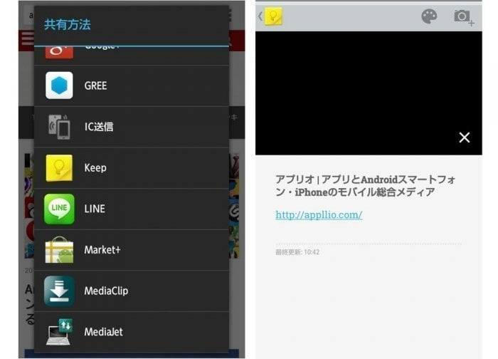 Google Keep Webクリップ