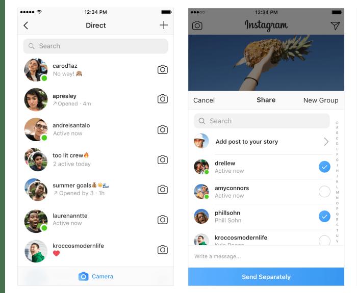 Instagram、緑色の丸(ドット)表示で今アクティブなのか確認できるように