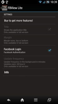 FacebookView Lite For Facebook 設定方法