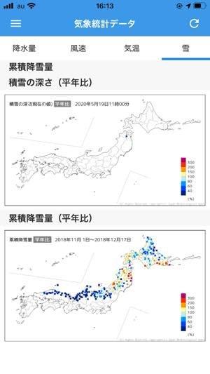 平年と比べたデータも表示する、豊富な気象統計データベース