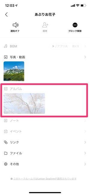 【LINEブロック】アルバム(iOS)