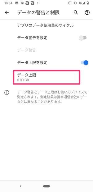 Android データ上限を設定する目的