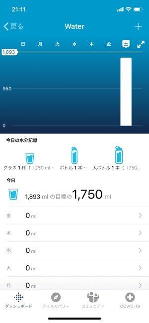 Fitbit 水分補給