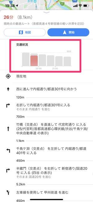 Googleマップ 経路検索で交通状況を確認する