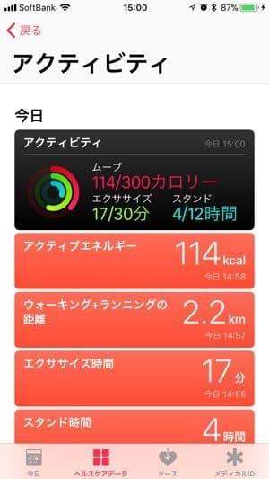 iPhone;ヘルスケアデータ(アクティビティ)