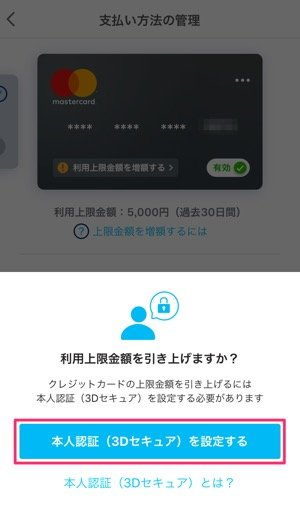 PayPay 利用限度額引き上げる方法