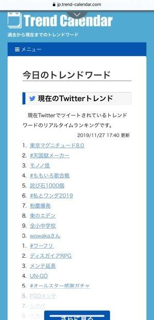 Twitter トレンド トレンドカレンダー
