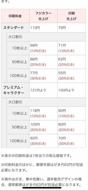 【ウェブポ年賀状アプリ】配送料金