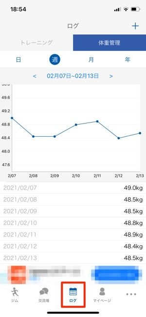 体重のグラフは日・月・年で表示の切り替えが可能