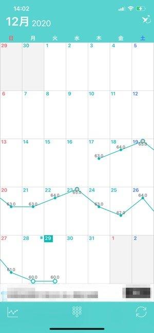 体重の変化が一目でわかるカレンダー