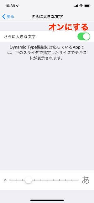 iPhone 設定画面 さらに大きな文字