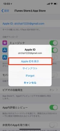 iPhone:Apple IDを表示
