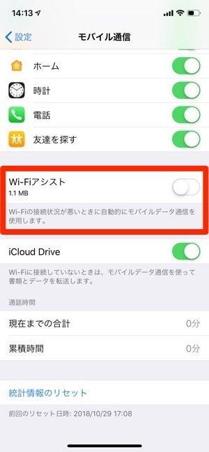 iPhone Wi-Fiアシスト